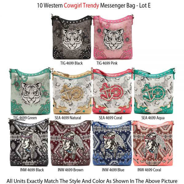 10 Western Cowgirl Trendy Messenger Bags - Economy Lot E
