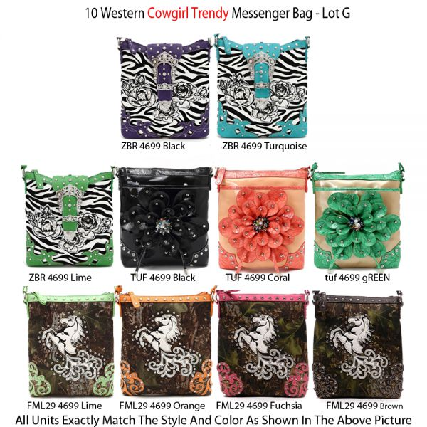 10 Western Cowgirl Trendy Messenger Bags - Economy Lot G