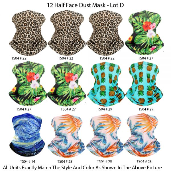 12 Half Face Dust Mask & wear in different ways  - Lot D