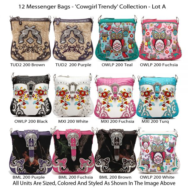 12 Western Cowgirl Trendy Messenger Bags - Lot A