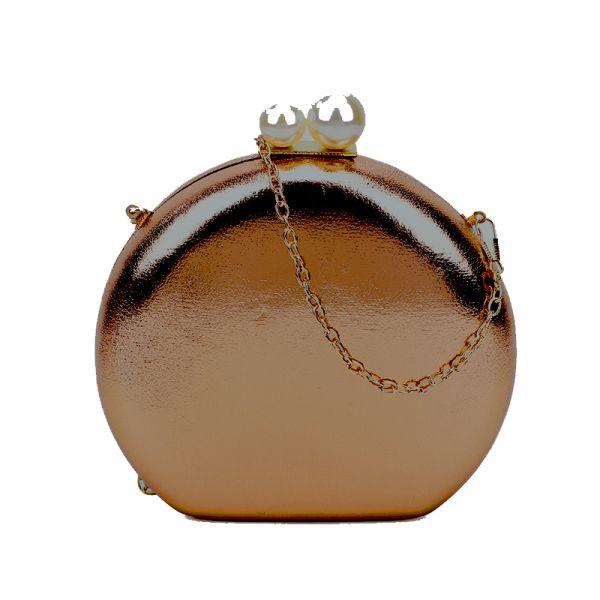 BRONZE CUTE STRUCTURED DOUBLE PEARL CIRCLE CLUTCH WITH CHAIN