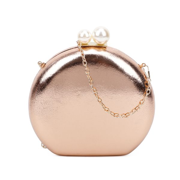 GOLD CUTE STRUCTURED DOUBLE PEARL CIRCLE CLUTCH WITH CHAIN