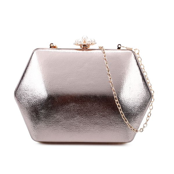 BRONZE STRUCTURES EVENING PARTY CLUTCH WITH CHAIN