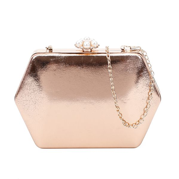GOLD STRUCTURES EVENING PARTY CLUTCH WITH CHAIN