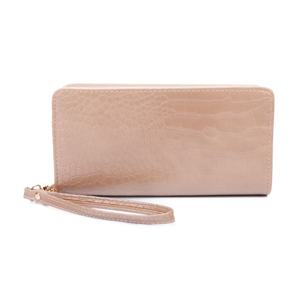 APRICOT STYLISH CROCO TEXTURED LONG WALLET WITH HAND STRAP