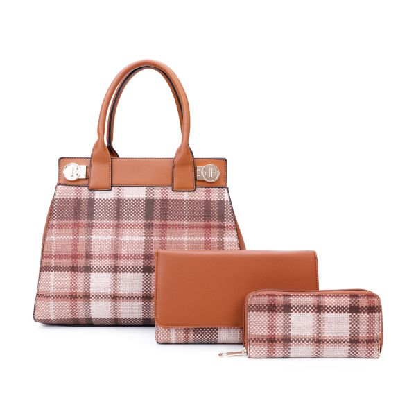 BROWN 3 IN 1 MODERN CHECK SATCHEL BAG CLUTCH AND WALLET SET