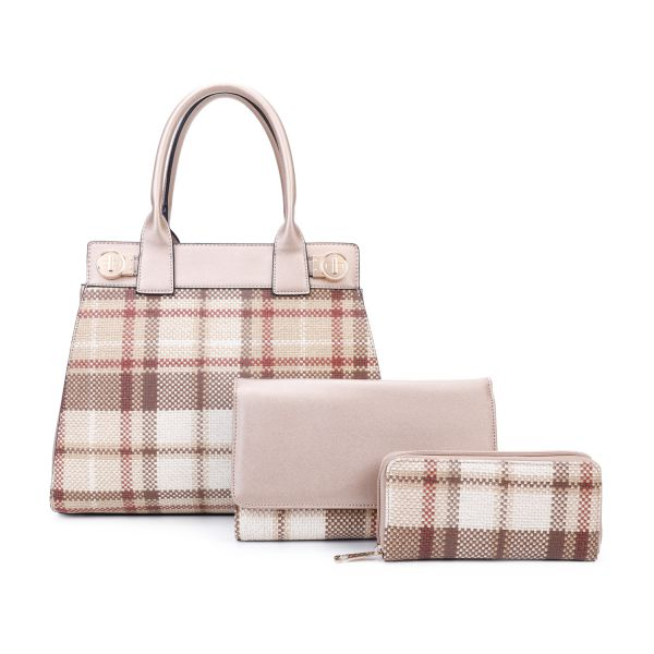 GOLD 3 IN 1 MODERN CHECK SATCHEL BAG CLUTCH AND WALLET SET
