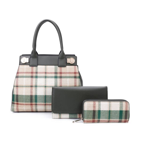 GREEN 3 IN 1 MODERN CHECK SATCHEL BAG CLUTCH AND WALLET SET