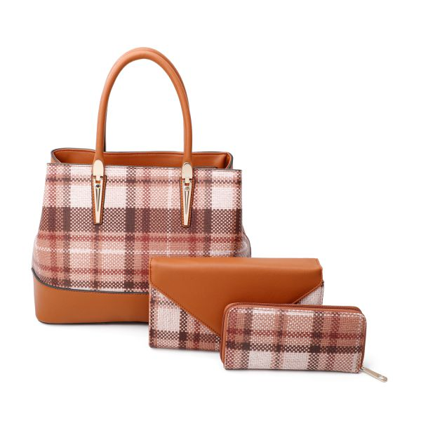 BROWN 3 IN 1 HOT TRENDY CHECK SATCHEL BAG CLUTCH AND WALLET SET