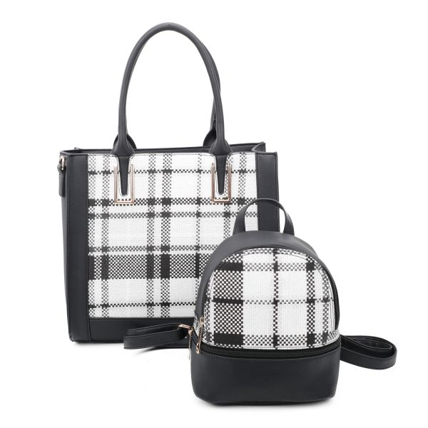 BLACK 2 IN 1 PLAID CHECK FRONT TOTE AND BACKPACK SET