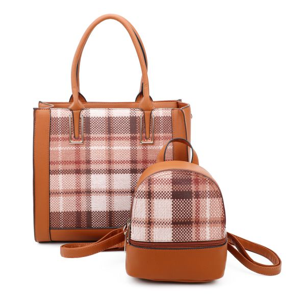 BROWN 2 IN 1 PLAID CHECK FRONT TOTE AND BACKPACK SET