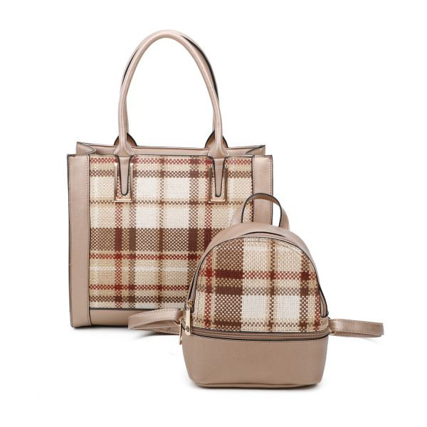 GOLD 2 IN 1 PLAID CHECK FRONT TOTE AND BACKPACK SET