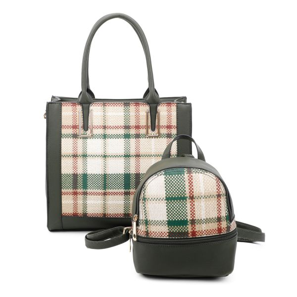GREEN 2 IN 1 PLAID CHECK FRONT TOTE AND BACKPACK SET