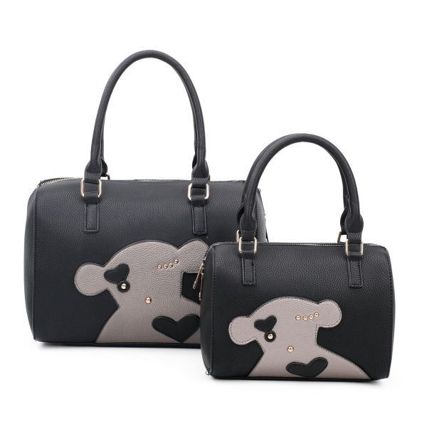 BLACK 2IN1 CUTE FASHION BEAR PATCH BOSTON BAG SET WITH LONG STRA