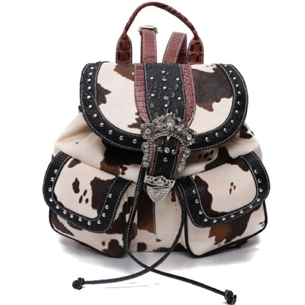 Black Western Cowgirl Accented Buckle Backpack - ACO5 5355