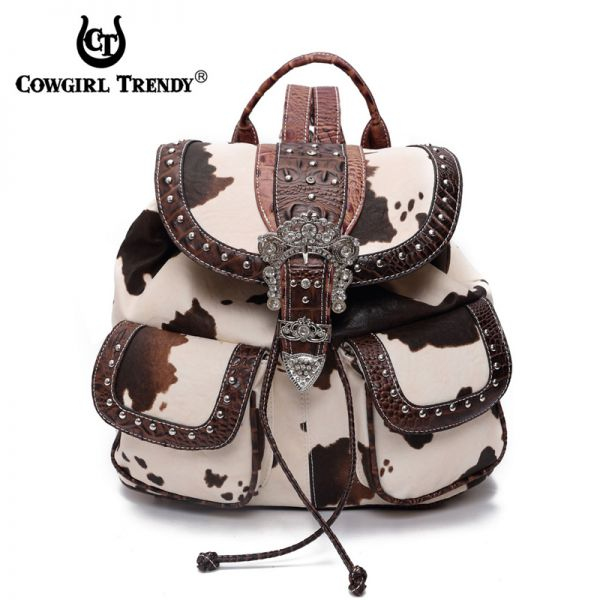 BRown Western Cowgirl Accented Buckle Backpack - ACO5 5355