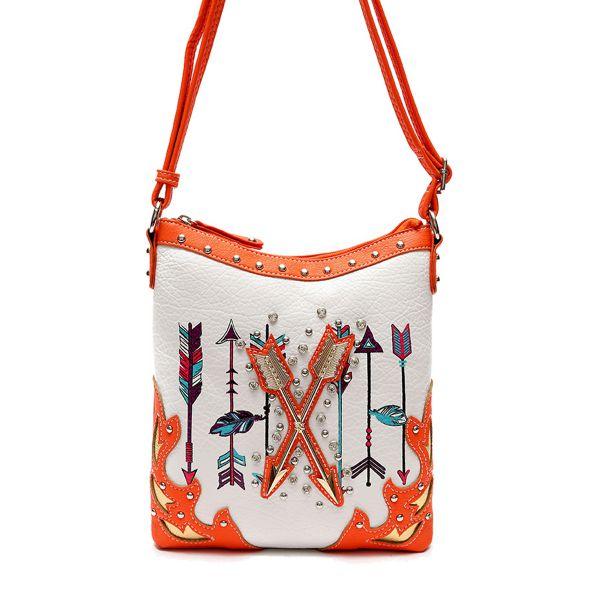 Coral Western Cowgirl Arrows Accented Messenger Bag - ARR2 4699