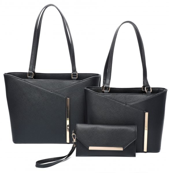 BLACK 3IN1 MODERN STYLISH TOTE AND CLUTCH SET