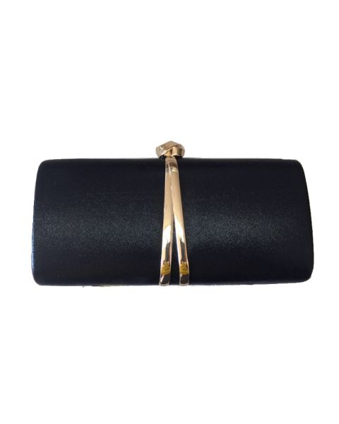 BLACK DESIGNER FASHION PARTY CLUTCH WITH CHAIN