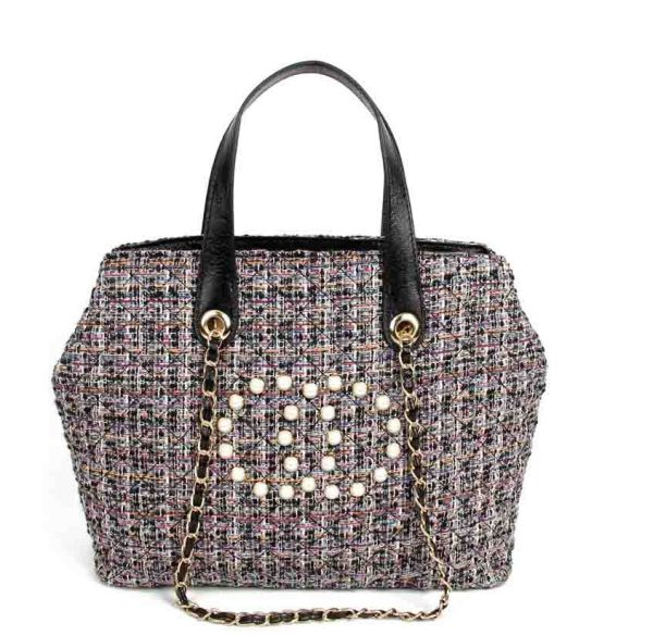 BLACK CHIC ROUGH FABRIC WOVEN SATCHEL WITH LINKED CHAIN