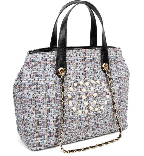 BLUE CHIC ROUGH FABRIC WOVEN SATCHEL WITH LINKED CHAIN