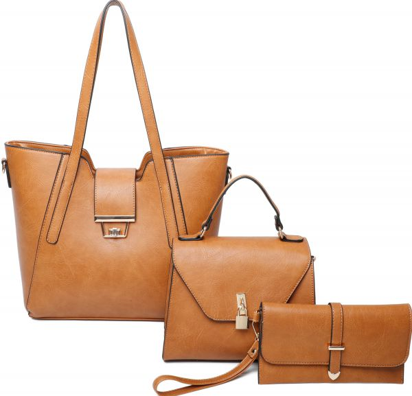 BROWN 3IN1 STYLISH SATCHEL CROSSBODY AND CLUTCH SET