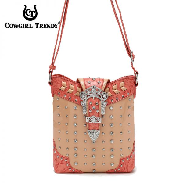 Coral Western Western Buckle W/Stone Messenger Bag - CSW 5102B