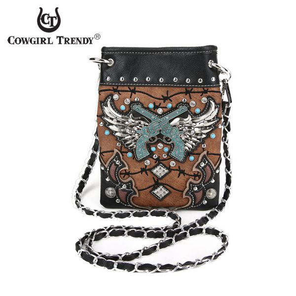 Brown Winged Guns On Barbed Wire Mini Messenger Bag - GWB2 5379