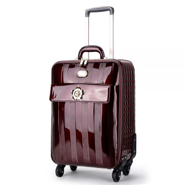 Burgundy Floral Accent Carry-On Luggage - KDL8899