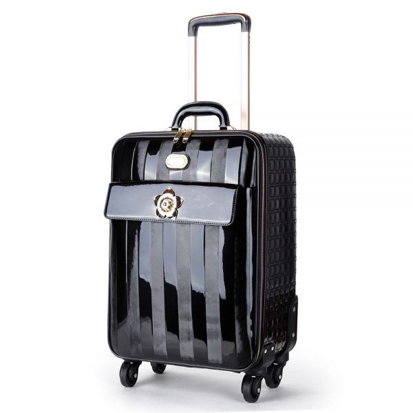 Black Floral Accent Carry-On Luggage - KDL8899