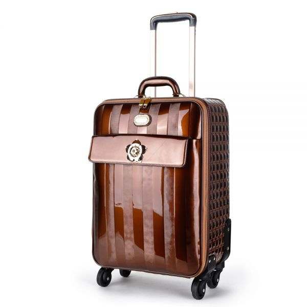 Bronze Floral Accent Carry-On Luggage - KDL8899