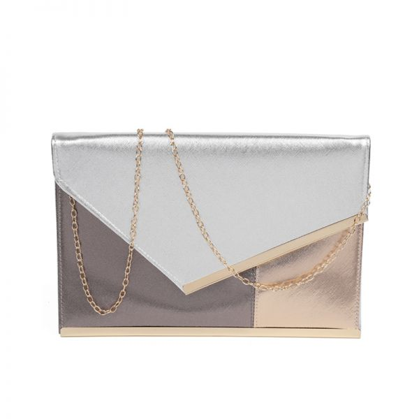 GOLD THREE COLOR MODERN ENVELOPE CLUTCH WITH CHAIN