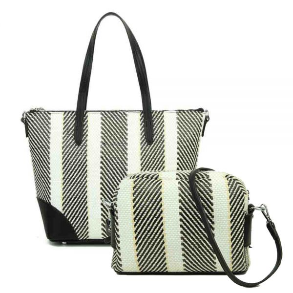 BLACK 2IN1 FASHION DURABLE WOVEN FABRIC SHOPPER BAG WITH LONG ST