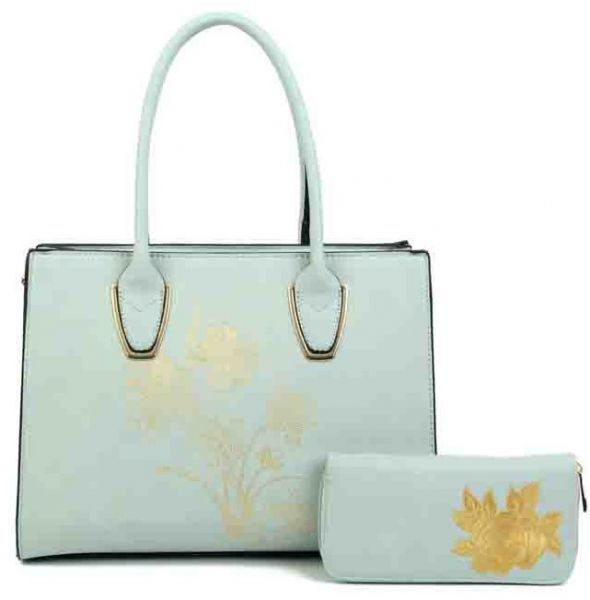 BLUE 2 IN 1 FLOWER HANDBAG WITH MATCHING WALLETS