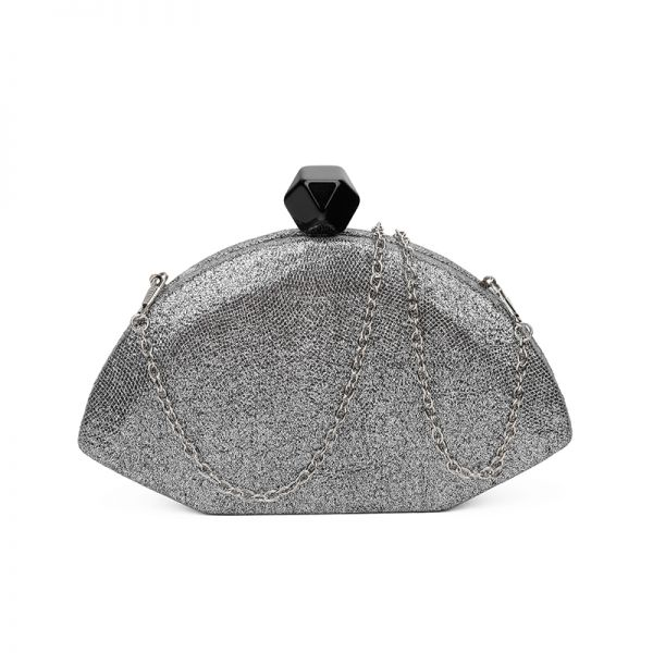 BLACK DESIGNER STRUCTURED FAN SHAPE CLUTCH WITH CHAIN