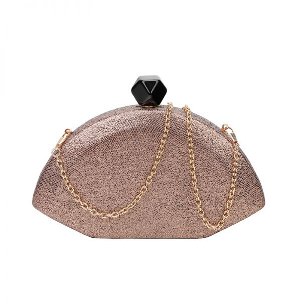 GOLD DESIGNER STRUCTURED FAN SHAPE CLUTCH WITH CHAIN