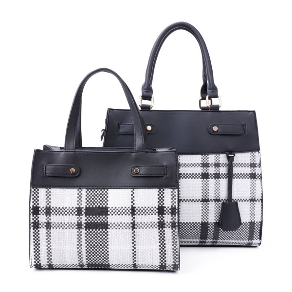 BLACK 2 IN 1 TRENDY CHECK SATCHEL SET WITH LONG STRAP