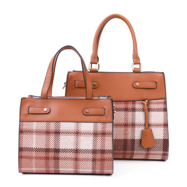 BROWN 2 IN 1 TRENDY CHECK SATCHEL SET WITH LONG STRAP