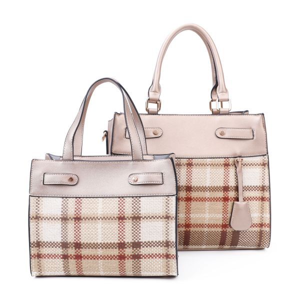 GOLD 2 IN 1 TRENDY CHECK SATCHEL SET WITH LONG STRAP