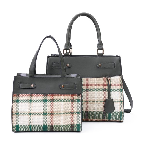 GREEN 2 IN 1 TRENDY CHECK SATCHEL SET WITH LONG STRAP