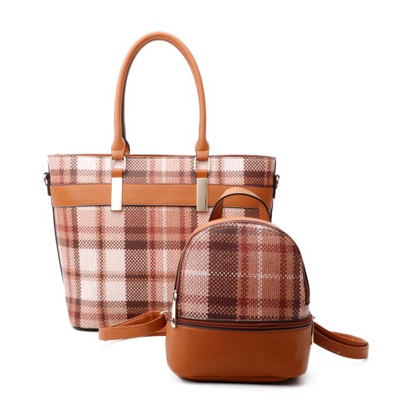 BROWN 2 IN 1 MODERN CHECK TOTE AND MINI BACKPACK SET