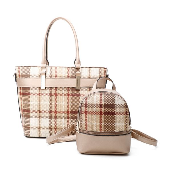 GOLD 2 IN 1 MODERN CHECK TOTE AND MINI BACKPACK SET