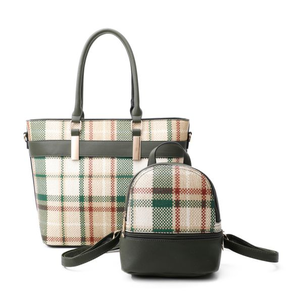 GREEN 2 IN 1 MODERN CHECK TOTE AND MINI BACKPACK SET
