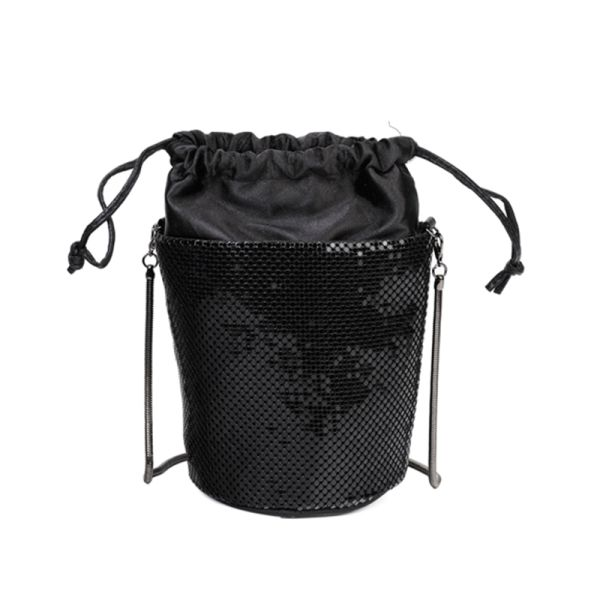 BLACK CUTE SEQUIN OUT LAYER CROSSBODY BAG WITH SNAKE CHAIN