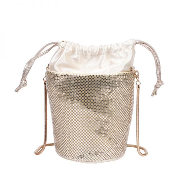 GOLD CUTE SEQUIN OUT LAYER CROSSBODY BAG WITH SNAKE CHAIN