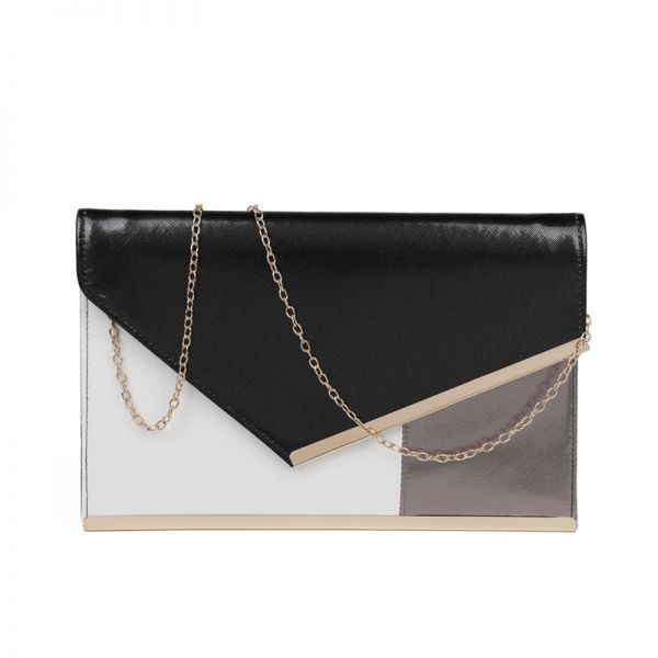 BLACK THREE COLOR MODERN ENVELOPE CLUTCH WITH CHAIN