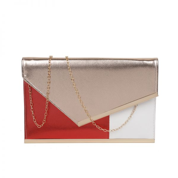 CHAMPANGE THREE COLOR MODERN ENVELOPE CLUTCH WITH CHAIN
