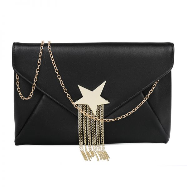 BLACK FASHION SHOOTING STAR ACCENTED ENVELOPE CLUTCH WITH CHAIN