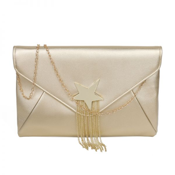 GOLD FASHION SHOOTING STAR ACCENTED ENVELOPE CLUTCH WITH CHAIN