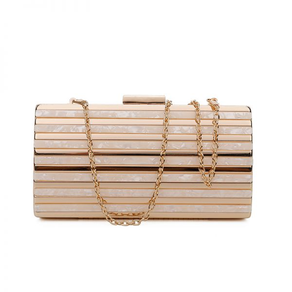 GOLD DESIGNER FASHION TWO TONE MATERIAL CLUTCH WITH CHAIN